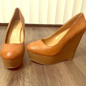 Tan wedge heels
